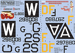 Kitsworld Kitsworld B17G Flying Fortress - 1/48 Scale Decal Sheet