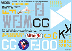 Kitsworld Kitsworld B17F Flying Fortress - 1/48 Scale Decal Sheet KW148009 B-17F 364th BS 305th BG - 527th BS 379th BG