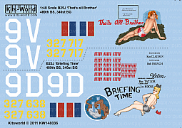 Kitsworld Kitsworld 'B-25 Mitchell' 1/48 Scale Decal Sheet KW148036  B-25J  489th BS, 340th BG  43-27717/9V  'That's All Brother' 43-27638/9D 'Briefing Time'