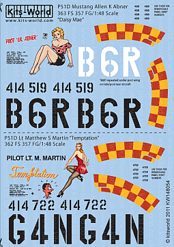 Kitsworld Kitsworld  - P51D Mustang 1/48 Scale Decal Sheet