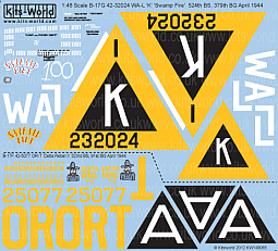 Kitsworld Kitsworld  - 1/48 Scale Decal Sheet B-17F/G KW148065
