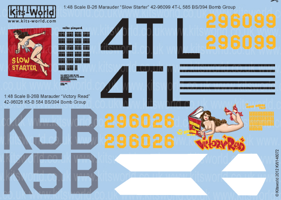 Kitsworld Kitsworld  - 1/48 Scale Decal Sheet B-26 Maruaders KW148072