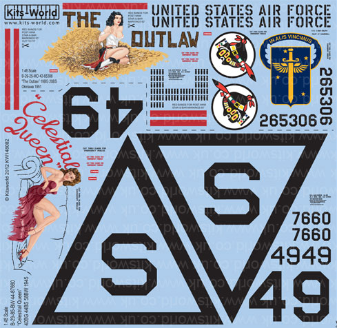 Kitsworld Kitsworld  - 1/48 Scale Decal Sheet B-29 Super Fortress KW148082
