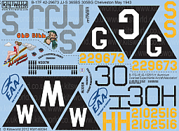 Kitsworld Kitsworld  - 1/48 Scale Decal Sheet B-17 KW148094