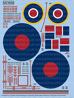 Kitsworld Kitsworld  - 1/48 Scale Avro Lancaster Stencilling and RAF Roundels
