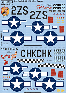 Kitsworld Kitsworld  - 1/48 Scale P-47D Thunderbolts Bubbletop Decal Sheet