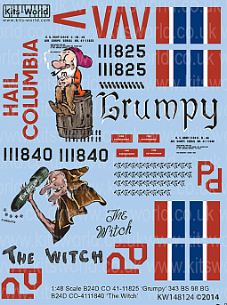 Kitsworld Kitsworld  - B-24D  Liberator 1/48 Scale Decal Sheet KW148124 - B-24  'Grumpy/Hail Columbia' - 'The Witch'  343BS 98BG~