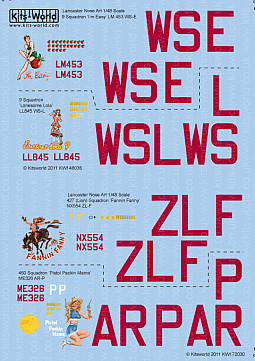 Kitsworld Kitsworld Lancaster Bomber- 1/72 Scale Decal Sheet KW172030 9 Squadron 'I'm Easy' LM453 WS-E, 'Lonesome Lola' LL845 WS-L