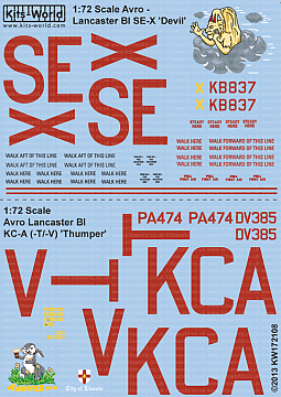 Kitsworld Kitsworld  - Avro Lancaster BI 1/72 Scale Decal Sheet KW172108
