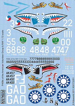 Kitsworld Kitsworld 1/72 Scale Decal Sheet P-40B Warhawks KW172051~