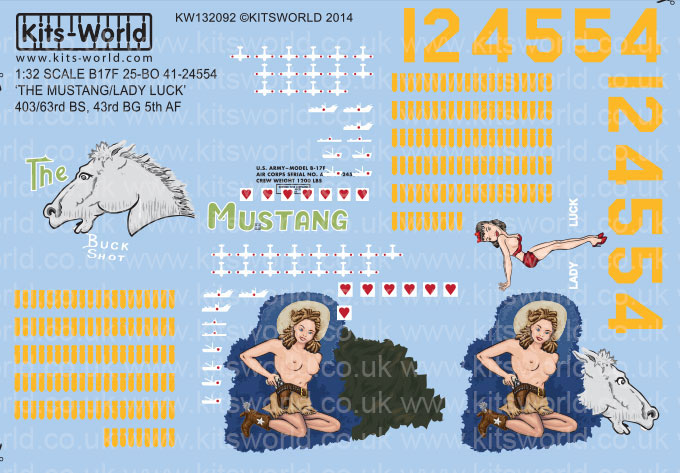 Kitsworld Kitsworld  - 1/32 Scale Boeing B-17F Flying Fortress Decal Sheet KW132092 B-17F-25-BO \