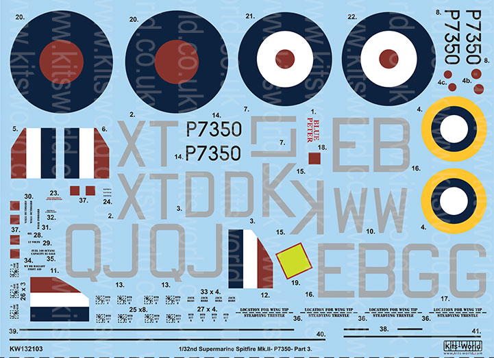 Kitsworld Kitsworld  - 1/32 Scale Spitfire MkIIa P7350 SET THREE Spitfire BBMF 2001 - 2009~