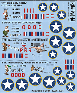 Kitsworld Kitsworld  - 1/144 Scale Decal Sheet B-24D Liberator KW144031 Snow White Squadron~