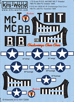 Kitsworld Kitsworld  - 1/72 Scale Decal Sheet P-51 Mustangs KW172056