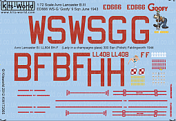 Kitsworld Kitsworld  - 1/72 Scale Decal Sheet Avro Lancaster KW172065