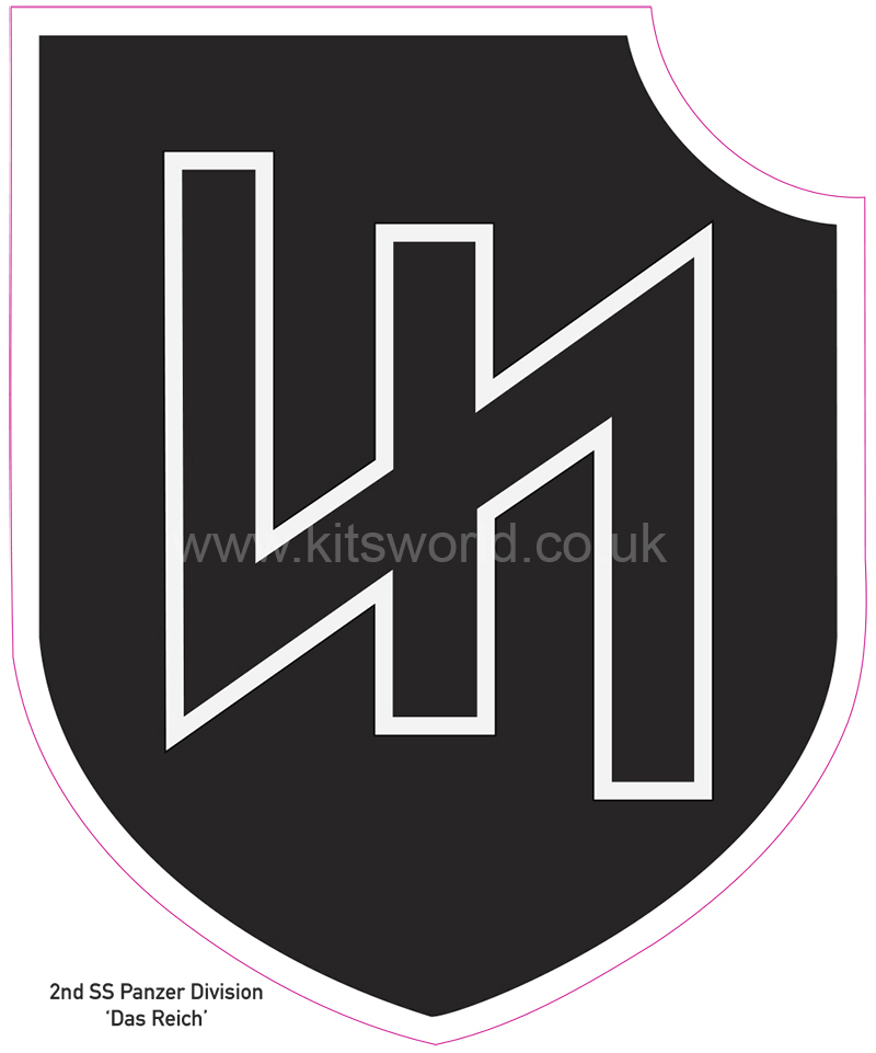 Kitsworld Self-adhesive vinyl transfers  Waffen SS -  2nd SS Panzer Division 'Das Reich' Height: 100 mm