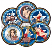 Kitsworld Kitsworld  - Coasters Set of Six Different WWII Nose Art 100mm Round MDF Corked Back Coaster