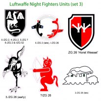 Kitsworld Self-adhesive vinyl transfers Luftwaffe Night fighters - set 3