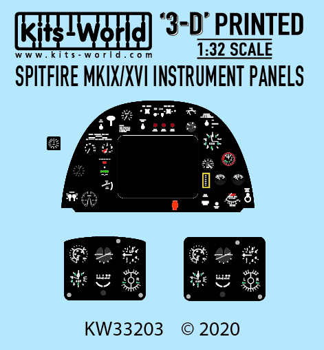 Kitsworld 1-32 Scale Spitfire MKIX /XVI - 3D Cockpit Instrument Panels KW3D1321003